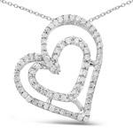 0.42 Carat Genuine White Diamond .925 Sterling Silver Pendant
