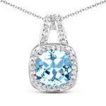 3.81 Carat Genuine Blue Topaz and White Topaz .925 Sterling Silver Pendant