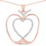 14K Rose Gold Plated 0.19 Carat Genuine White Diamond .925 Sterling Silver Pendant