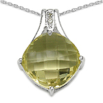 12.18 Carat Genuine Lemon  Quartz  and 0.02 ct. t.w. Genuine Diamond Accents Sterling Silver Pendant