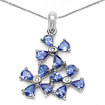 1.71 Carat Tanzanite & White Diamond 10K White Gold Pendant