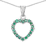 0.54 Carat Genuine Emerald and White Diamond .925 Sterling Silver Pendant