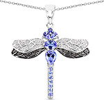 1.93 Carat Genuine Tanzanite, Tanzanite and White Topaz .925 Sterling Silver Pendant