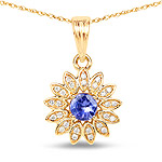 0.31 Carat Genuine Tanzanite and White Diamond 14K Yellow Gold Pendant