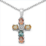1.27 Carat Genuine Orange Sapphire, Green Sapphire & White Topaz .925 Sterling Silver Pendant