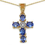 0.87 Carat Tanzanite & White Diamond 10K Yellow Gold Pendant