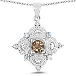 3.00 Carat Genuine Smoky Quartz, Blue Topaz and White Topaz .925 Sterling Silver Pendant