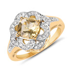 14K Yellow Gold Plated 1.78 Carat Genuine Citrine and White Topaz .925 Sterling Silver Ring