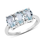 2.25 Carat Genuine Aquamarine .925 Sterling Silver Ring