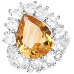 12.01 Carat Genuine Citrine and White Topaz .925 Sterling Silver Ring