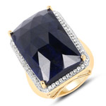 18K Yellow Gold Plated 25.41 Carat Dyed Sapphire and White Topaz .925 Sterling Silver Ring