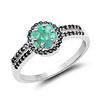 0.72 Carat Genuine Emerald and Black Spinel .925 Sterling Silver Ring