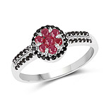0.71 Carat Genuine Ruby and Black Spinel .925 Sterling Silver Ring