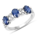 1.52 Carat Genuine Blue Sapphire and White Topaz .925 Sterling Silver Ring