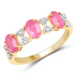 14K Yellow Gold Plated 1.64 Carat Genuine Ruby and White Topaz .925 Sterling Silver Ring