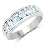 2.00 Carat Genuine Aquamarine .925 Sterling Silver Ring