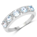 1.64 Carat Genuine Blue Topaz and White Topaz .925 Sterling Silver Ring
