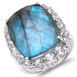 17.39 Carat Genuine Labradorite & White Topaz .925 Sterling Silver Ring