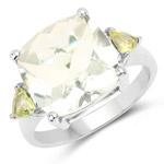 6.80 Carat Genuine Green Amethyst and Peridot .925 Sterling Silver Ring