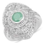 1.03 Carat Genuine Emerald and White Diamond .925 Sterling Silver Ring