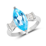 3.85 Carat Genuine Swiss Blue Topaz and White Topaz .925 Sterling Silver Ring