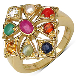 14K Yellow Gold Plated 0.35 Carat Ruby Ring with 0.95 ct. t.w. Multi-Gems in Sterling Silver