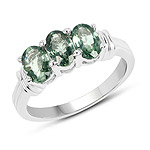 1.95 Carat Genuine Green Sapphire .925 Sterling Silver Ring