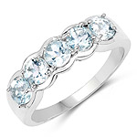 1.10 Carat Genuine Aquamarine .925 Sterling Silver Ring