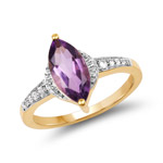 14K Yellow Gold Plated 1.55 Carat Genuine Amethyst and White Topaz .925 Sterling Silver Ring