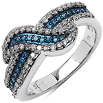 0.50 ct. t.w. Blue and White Diamond Ring in Sterling Silver