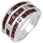 3.28 Carat Genuine Garnet and 0.12 ct.t.w Genuine Diamond Accents Sterling Silver Ring