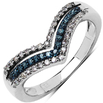 0.25 ct. t.w. Blue and White Diamond Ring in Sterling Silver