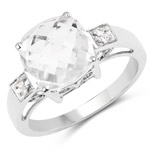 3.45 Carat Genuine Crystal Quartz and White Topaz .925 Sterling Silver Ring