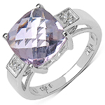 5.30 Carat Genuine Pink Amethyst & White Topaz .925 Sterling Silver Ring