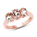 14K Rose Gold Plated 1.61 Carat Genuine Morganite and White Diamond .925 Sterling Silver Ring
