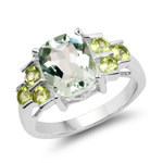 2.85 Carat Genuine Green Amethyst and Peridot .925 Sterling Silver Ring
