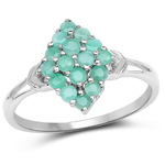 0.80 Carat Genuine Emerald .925 Sterling Silver Ring