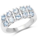 1.28 Carat Genuine Blue Topaz and White Topaz .925 Sterling Silver Ring