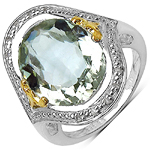 8.14 Carat Genuine Green Amethyst and 0.06 ct.t.w Genuine Diamond Accents Sterling Silver Ring