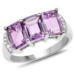 2.99 Carat Genuine Amethyst and White Topaz .925 Sterling Silver Ring