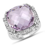 13.83 Carat Genuine Pink Amethyst and White Topaz .925 Sterling Silver Ring