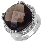 11.34 Carat Genuine Smoky Quartz and 0.06 ct.t.w Genuine Diamond Accents Sterling Silver Ring