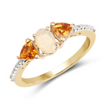 14K Yellow Gold Plated 0.81 Carat Genuine Ethiopian Opal, Citrine and White Topaz .925 Sterling Silver Ring
