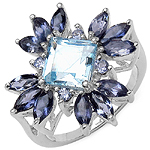 2.90 Carat Genuine Multistone .925 Sterling Silver Ring