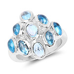 6.30 Carat Genuine Swiss Blue Topaz .925 Sterling Silver Ring