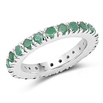 1.49 Carat Genuine Emerald .925 Sterling Silver Ring