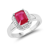 1.98 Carat Glass Filled Ruby and White Topaz .925 Sterling Silver Ring