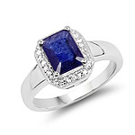 2.63 Carat Glass Filled Sapphire and White Topaz .925 Sterling Silver Ring