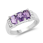 1.69 Carat Genuine Amethyst and White Topaz .925 Sterling Silver Ring