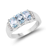 1.84 Carat Genuine Blue Topaz and White Topaz .925 Sterling Silver Ring